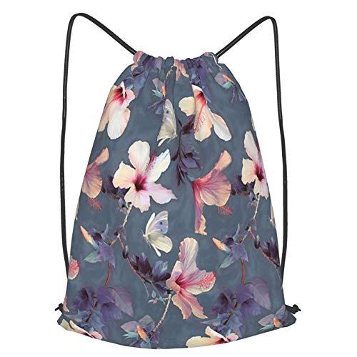 Olverz Mochila con cordón, color rosa y morado, con diseño de flores, resistente al agua, bolsa de gimnasio grande, plegable, para senderismo, camping, playa, M
