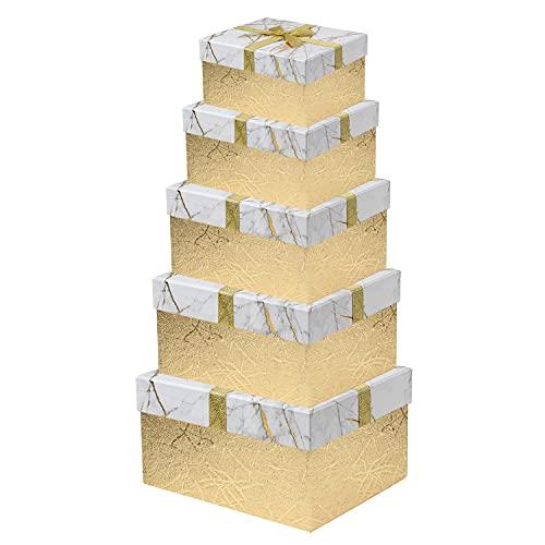 Scatola regalo con coperchio rettangolare in carta per gioielli, scatola regalo piccola, set di 5 misure assortite, adatta per regali, giocattoli, confezione regalo