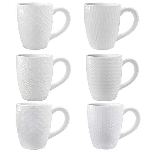 Amazon Brand - Umi 400ml Trinkbecher Keramik 6er-Set Unterschiedliche Muster Weiße Tasse mit Griff für Kaffee Tee Kakao Müsli