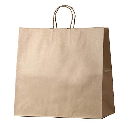 井上紙業 紙袋 手提げ マチ広 茶 クラフト 無地 業務用 [50枚] ペーパーバッグ 大 A4 手提げ紙袋 クラフトバッグ てさげ袋 (HW-45 / 450x220x440)