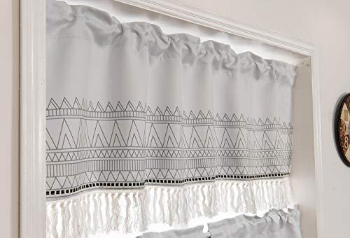 YOKII Boho Tassels Valances for Window 52''W x 18''L Room Darkening Greyish Chevron Striped Curtain Valance Window Treatments for Kitchen Bathroom Living Room Decors (W52 x L18, Greyish)