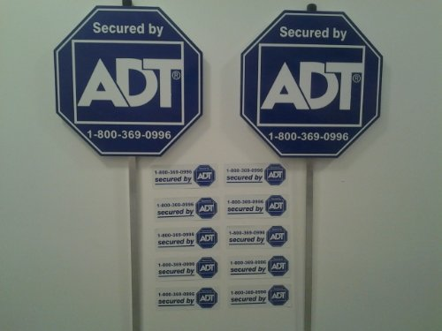 New Special October Sign Sale! 2 Adt Home Secure Alarm Yard Signs and 10 Decals Stickers. Help Keep Your Family Protected with These Great Anti Theft Signs! Protection for Any Business or S