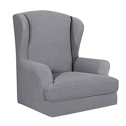 YNYEZBH 1 Uds, Funda para Silla de Orejas, sillón con Respaldo de ala elástica, Funda Deslizante para sofá, Funda elástica para protección de Muebles, Funda para Silla, Gris Claro