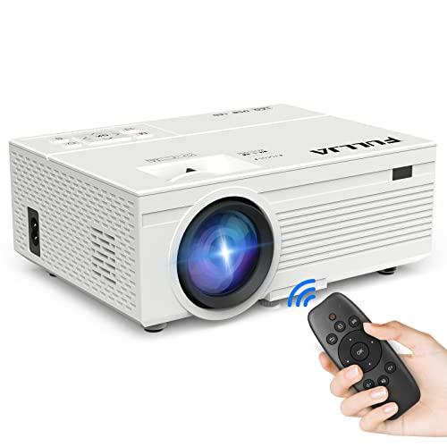 FULLJA Tragbarer Mini-Projektor, Heimkino-Projektor, unterstützt Full Color HD 1080P für Cartoon, Partyspiel, TV, LED-Videoprojektor, kompatibel mit HDMI/VGA/USB/TF/AV, Filmprojektor für den Außenbereich