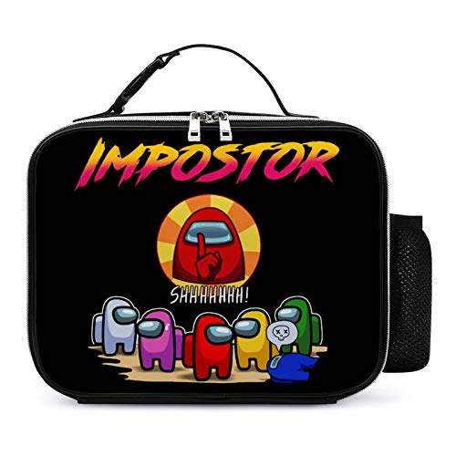 Impostor Among-Us Box with Padded Liner Spacious Insulated Lunch Bag Durable Thermal Lunch Cooler Pack for Boys Men Women Girls Adults 106 in x 82in x 35 in Black-3