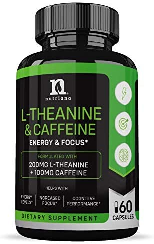 Best L Theanine 200mg Supplement Caffeine and L Theanine for Focus Alertness Anxiety Ltheanine product image
