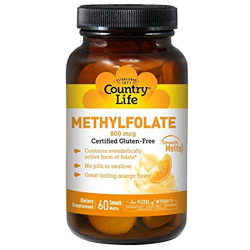 Country Life, Methylfolat, Orangen-Geschmack, 800 mcg, 60 sanft schmelzende Drops