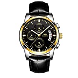 Orologio Uomo multifunzionale cronografo impermeabile con funzione di calendario data orologio da polso stile casual da affari orologio ai quarzi (Oro)