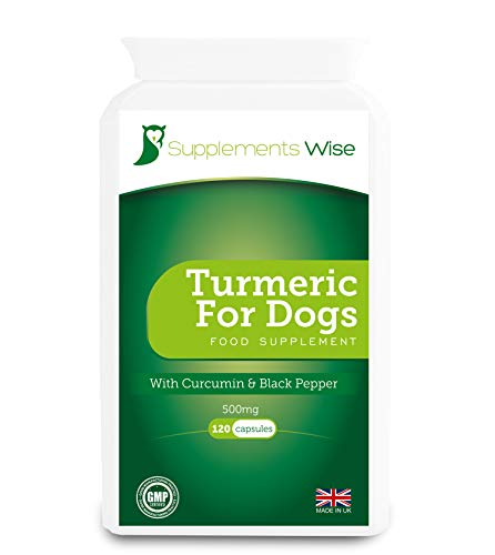 Turmeric For Dogs - 120 x 500mg Capsules - Hip and Joint Support - Powerful Curcumin Supplement - With Black Pepper Piperine For Optimum Absorption - 10000mg Equivalent From 20:1 Extract