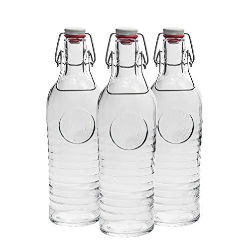 Bormioli Rocco bottiglia di vetro, stile Vintage - 1200ml (37.25oz)- Set di 3