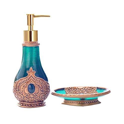 MLWTB Marokkaanse stijl badkamer accessoires set van 2, natuurlijke hars materiaal, zeep fles, zeep doos