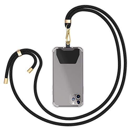 ZhinkArts Universale Handykette kompatibel mit Apple iPhone/Samsung Galaxy/Huawei/Xiaomi/u.v.m - Smartphone Necklace - Kette zum umhängen in Schwarz - Gold