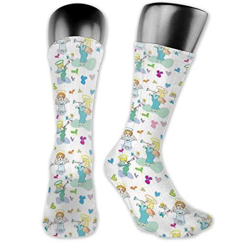 Papalikz Compression Medium Calf Socks,Elves With Trumpet Flowers Hearts Cupid Butterflies Baby Love Season Nursery Cartoon
