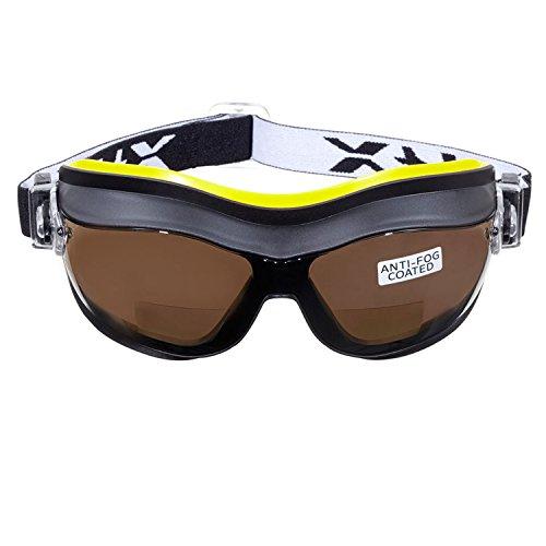 voltX Defender (Ahumado +2.5) Gafas de Seguridad bifocales compactas y ventiladas, Safety Goggles Certificado CE EN166FT, con Revestimiento antiempañamiento