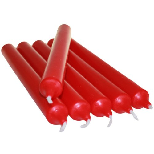6 x Colourful Dinner Candles - 21cm High (Red)