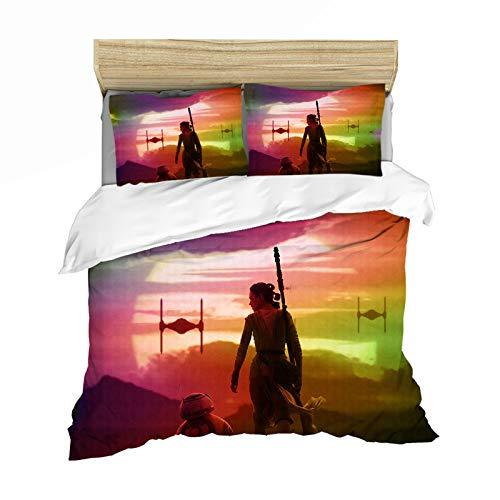 JWJW Star Wars - Funda de edredón con funda de almohada a juego, juego de cama reversible (220 x 260 cm)