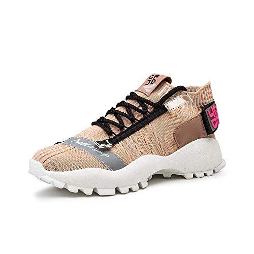 BLD heren sneaker met dikke zool ademende gebreide schoenen sportschoenen voor heren 40 Geel