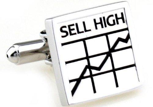 Gemelolandia | Boutons de Manchette Sell High buy Low Plated de forme carrée, couleur argent | Pour Hommes et Garçons | Cadeaux Pour Mariages, Communi