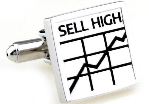 Gemelolandia Boutons de manchette Sell High buy Low Plated de forme carrée, couleur argent