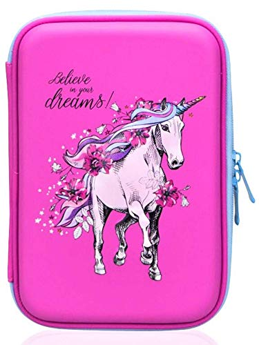 Girls Pencil Case |Cute Preschool, Kindergarten, and Elementary Pen Holder With Compartments |Toddler Pink School Zipper Pouch (White Unicorn)