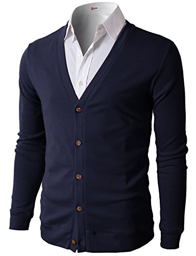 H2H Mens Casual Solid Color Button Dwon V Neck Knit Cardigan Sweater Navy US M/Asia L (CMOCAL012)