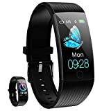 Smart Watch, Smartwatch for Android Phones, Waterproof Fitness Watch with Blood Pressure Heart Rate Monitor Sport Activity Tracker Watch with Pedometer Calorie Compatible for iOS Women Men,Black