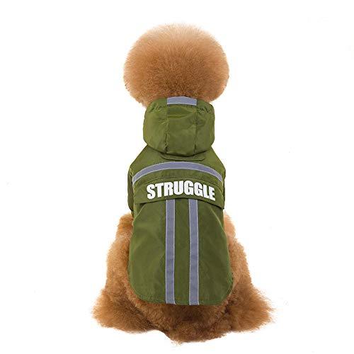 Aexit Pet Dog Rain Clothes Chubasquero para Perros Chubasquero Impermeable para Perros pequeños Chubasquero Reflectante para Bichon Bulldog con Bolsillo Resistente a la Lluvia/Agua Verde S
