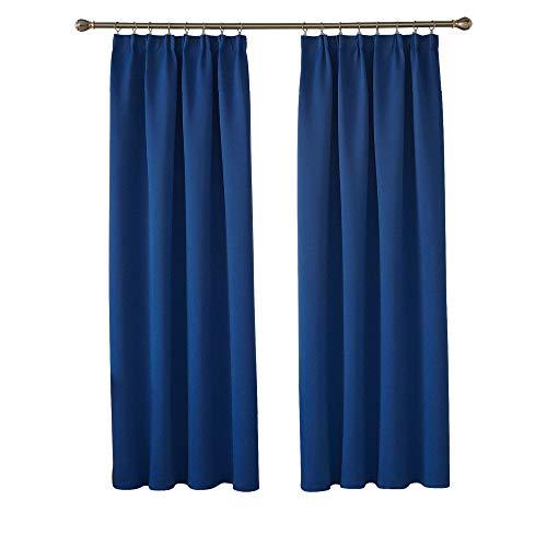 Deconovo Blickdichte Gardinen Verdunkelungsvorhänge mit Kräuselband Schlafzimmer 175x140 cm königsblau 2er Set
