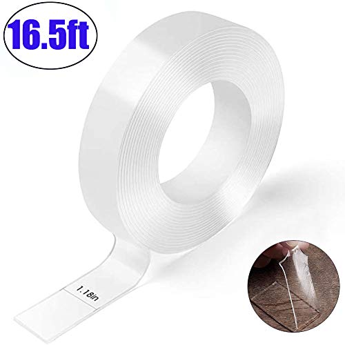 Nano Double Sided mounting Tape heavyduty-Multipurpose Traceless Strong Adhesive Washable Removable Clear Anti Slip Fix Rug Tape -Clear Sticky Adhesive Mounting Tape for Home/Office Car Decor16.5ft