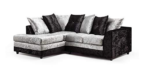 Honeypot - Sofa - Harley - 3 + 2 Seater - Corner Sofa - Footstool - Crushed Velvet - (Black/Silver, Left Hand Corner)