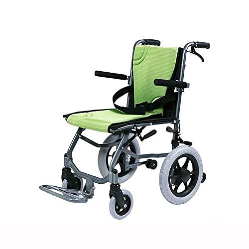 AWJ sillas de Ruedas Transporte de Metales Pesados Embarque de sillas de Ruedas Aluminio Ligero Apoyabrazos Plegable Neumático sólido Frenado eficaz bis sillas de Ruedas Plegables Ligeras