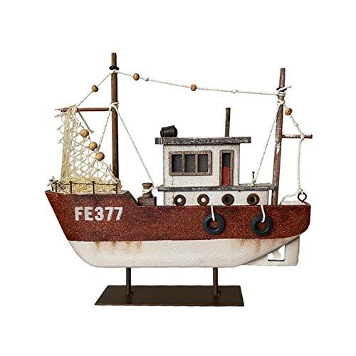 zhongzhichengcheng Sculptures Statues Nautical Beach Wooden Ship Boat Decoration Home Ornaments Handmade Arts Crafts Red Light Fancy Design