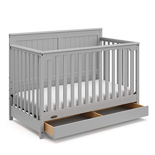 Storkcraft Graco Hadley 4-in-1 Convertible Crib with Drawer - Easily Converts to Toddler Bed, Day Bed or Full Bed - Three Position Adjustable Height Mattress (Mattress Not Included) - Pebble Gray