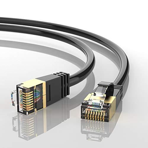AUCAS CAT8 LANケーブル 極細タイプ カテゴリー8ケーブル32AWG最大40Gbps 2000MHz 超高速インターネットケーブル RJ45 爪折れ防止 多重シールド モデム ルータ PS4 Xbox等に対応 / 金メッキ厚50μ(1m)