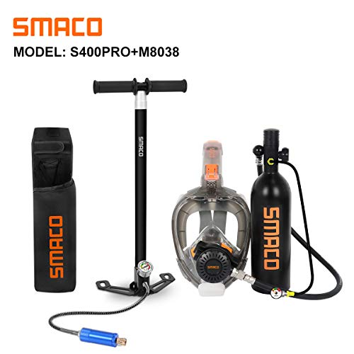 SMACO Scuba Tank & Snorkel Mask Diving Gear for Diver Mini Diving Tank Oxygen Cylinder with 15-20 Minutes Capability Diving Oxygen Underwater Breathing Device 1L Diving & Snorkeling Equipment