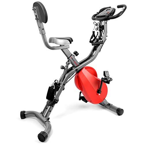 Ultrasport, Gris Oscuro/Rojo F-Bike 700BS Pro Estática, Bicicleta con Consola y sensores de Pulso, Ideal para Quemar Grasa, con 8 Niveles de Resistencia Ajustables, Respaldo y Cuerdas