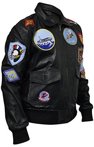 Classyak - Chaqueta de Cuero para Hombre Top Gun Fashion (Ropa)