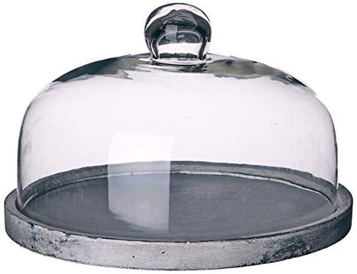 Better & Best 3001468 Fanal queso ancho en cristal con base resina gris de cristal, blanco y gris