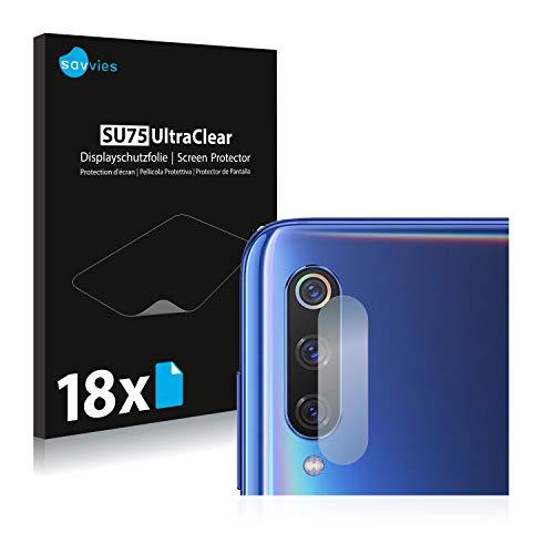 savvies 18-Pezzi Pellicola Protettiva Compatibile con Xiaomi Mi 9   Mi CC9 (Camera Parte Posteriore) Protezione Schermo Trasparente