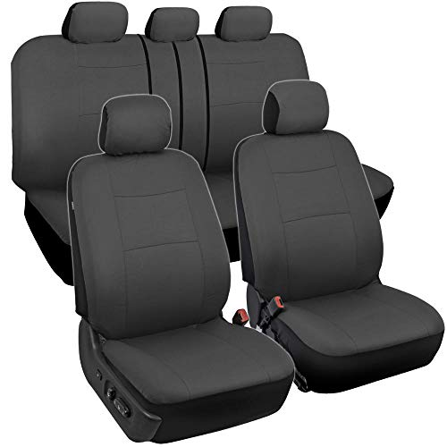 BDK PolyPro Car Seat Covers, Full Set in Solid Charcoal – Front and Rear Split Bench Protection, Easy to Install, Universal Fit for Auto Truck Van SUV