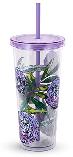 Vera Bradley Purple Floral Acrylic Insulated Travel Tumbler with Reusable Straw, 24 Ounces, Lavender Meadow
