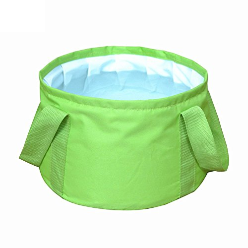 UrCool 15L Lightweight Portable Folding Wash Basin Bucket Foldable Collapsible Bucket Trips Foot Bath Folding Water Bag for Outdoor Travel Camping Hiking Fishing Washing with Carrying Pouch Green