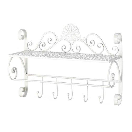 Accent Plus Decorative Wall Shelf, Flourish Kitchen Storage Wall Shelf Displaywith Hooks