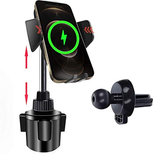 Qi 車載ワイヤレス充電器 車載ホルダー 急速充電 無線充電器 ドリンクホルダー スケーラブル 調整可能なカップホルダー 大型カップ穴用 360度回転可能 iphone スタンド 車載スマホホルダー スマートフォンホルダー 脱落防止 iphone8/8 PLUS/X/XR/XS/XS MAX/iPh