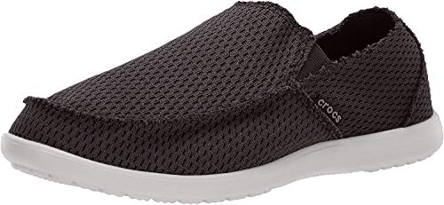 Crocs Men's Santa Cruz Mesh Slip-On Loafer, Black, 9 M US