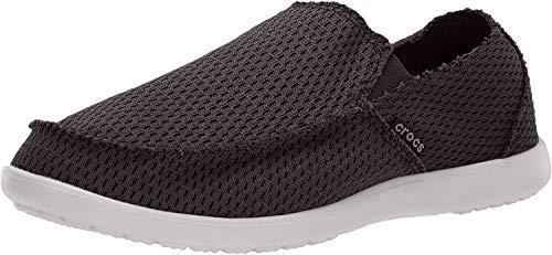 Crocs Men's Santa Cruz Mesh Slip-On Loafer, Black, 9 M US