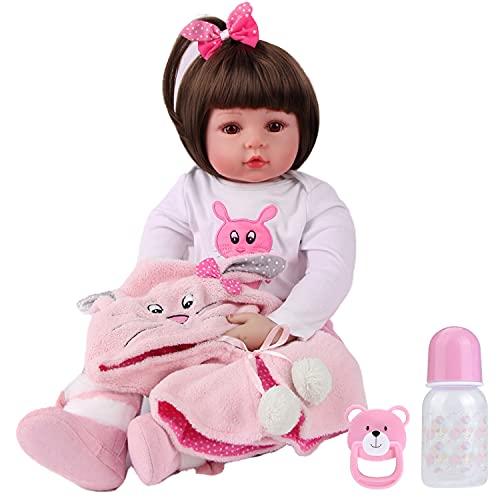 ZIYIUI Bebes Reborn Silicona Muñecas Reborn niñas Reales Baby niño Realista Toddler Dolls Girls Ojos Abiertos Verdadero Baratos Muñecos Reborn Originales Bebe Reborn 50 Cm