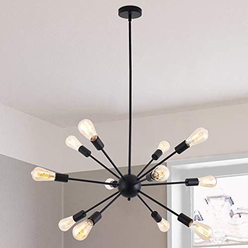 Lámpara de araña Sputnik, 12 focos, moderna, lámpara colgante E27, de metal, altura regulable, para comedor, salón, dormitorio, cocina, restaurante (negro)