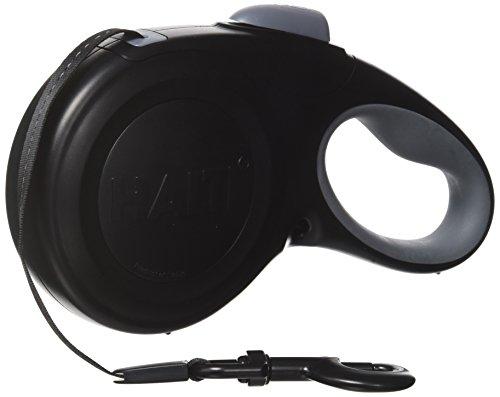 Halti Retractable Tape Lead Laisse à Enrouleur avec Bande Réfléchissante/Poignée Gel Ergonomique pour Chien Noir Taille L