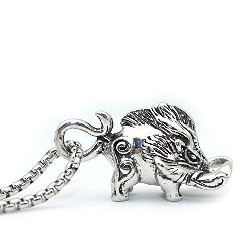 Schweinehalskette für Männer, nordische Wikinger-Wildschwein-Anhänger-Halskette mit 25,6-Zoll-Kette, keltische Wildschweinkopf-Totemamulett-Halskette, Punk-Tierschweineschmuckgeschenk
